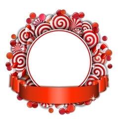 Frame with red and white candies vector