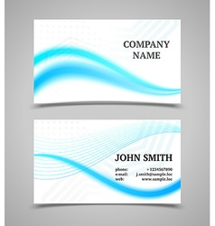Modern light business card template with waves vector
