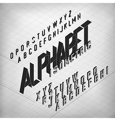 Black isometric alphabet on monochrome grid vector
