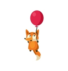 Fox flying with balloon vector