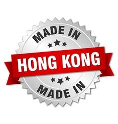 Made in hong kong silver badge with red ribbon vector