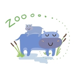 Set of cute zoo animal kawaii eyes and vector