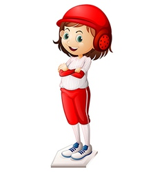 A smiling female baseball player vector