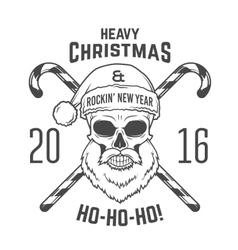 Bad santa claus biker with candy cones print vector