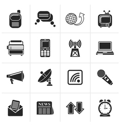 Black Communication and connection icons vector image vector image