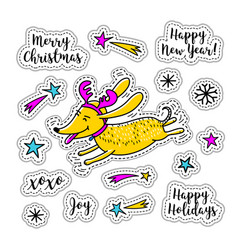 Cartoon sticker christmas stickers doodle icons vector