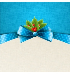 christmas background with bow and holly vector image