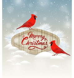 Christmas background with two cardinal birds vector