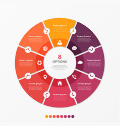 circle chart infographic template with 8 options vector image vector image
