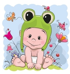Cute cartoon baby vector