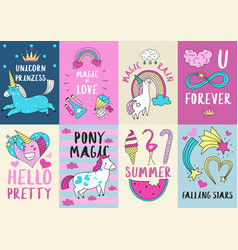 Cute magic cards vector