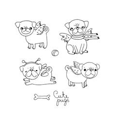 Cute pugs dogs vector