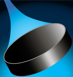 flying hockey puck to the right on a dark blue ice vector image