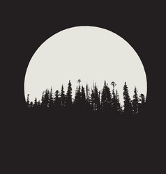 forest silhouette on moon background vector image vector image