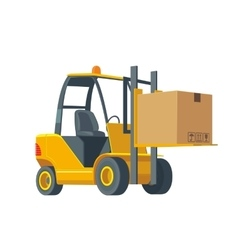 Forklift carries a box Wide flat vector image