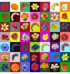 Great set of flowers 49 species vector