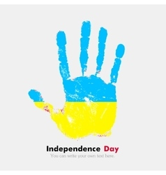 Handprint with the ukrainian flag in grunge style vector