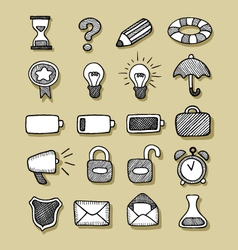 Icons Hand Drawn 1 vector image