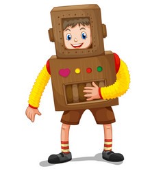 little boy in robot costume vector image vector image