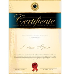 Luxury blue certificate template vector