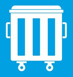Metal trashcan icon white vector