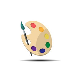 Palette with paint brush vector
