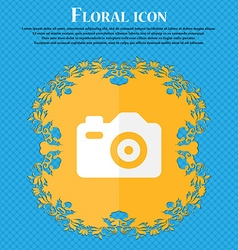 Photo Camera Floral flat design on a blue vector image