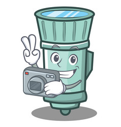 Photography flashlight cartoon character style vector