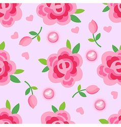 Pink roses pearls seamless background vector image vector image