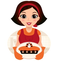Retro cartoon Woman serving Thanksgiving food vector image vector image