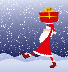 santa claus with gift in his hands vector image vector image
