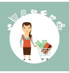 seller offers to pay in cash or card vector image