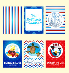 Set of nautical and marine banners and flyers vector