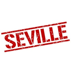 Seville red square stamp vector image vector image