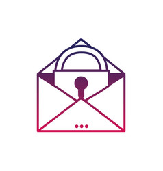 Silhouette e-mail mesage with padlock insite to vector