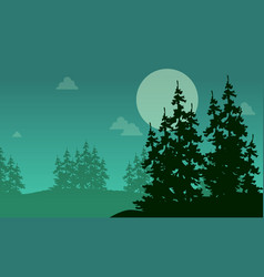 Silhouette of forest spruce at night landscape vector