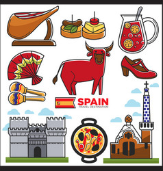 Spain travel destination promotional poster with vector