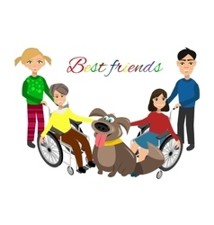 Special needs children with friends vector