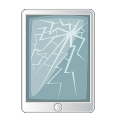 Tablet with broken screen icon cartoon style vector image vector image