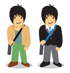 Twin man freelance vs office man vector