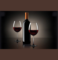 Two glasses of wine and bottle over beige vector