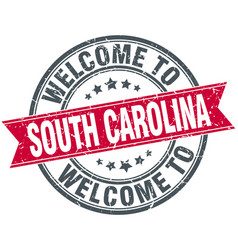 Welcome to south carolina red round vintage stamp vector