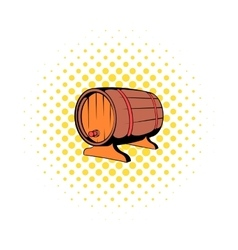 Wooden barrel of beer with a tap icon comics style vector