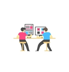 Workplace concept People sitting at the desktop vector image vector image