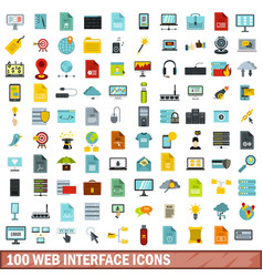 100 web interface icons set flat style vector image vector image