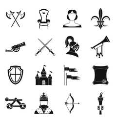 Knight medieval icons set simple style vector