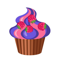 sweets round fruit cupcake with four raspberries vector image