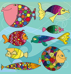 colorful cartoon fishes vector image
