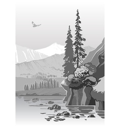 Beautiful grayscale mountain landscape vector