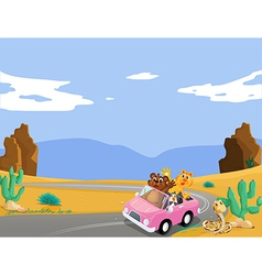 A pink car with animals travelling vector image